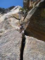 The nice looking crack up from Belay 4. Do not go this way. Off route!