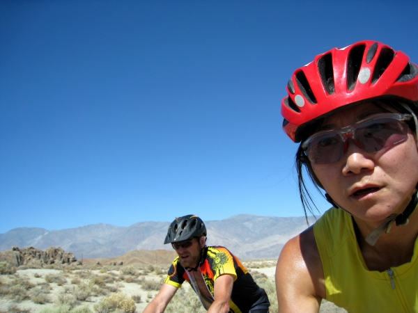I took this photo (self portrait) while passing Erik on the way up Whitney Portal. We were hot and tired.