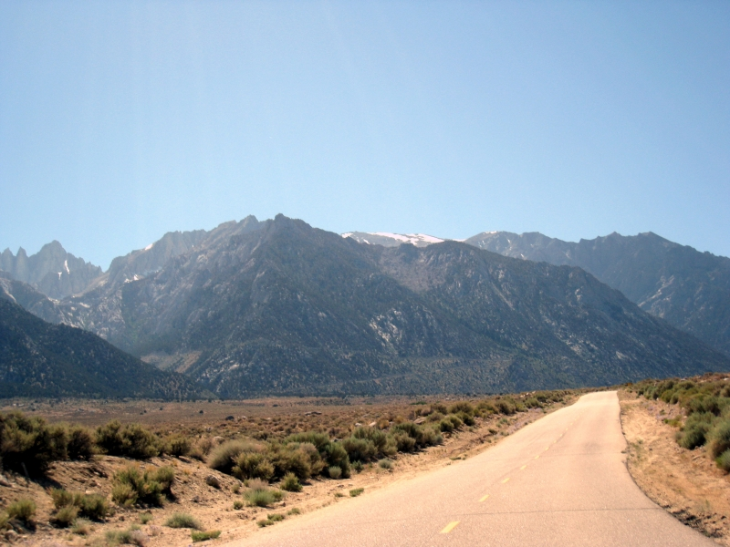 Looking up at Whitney Portal Road in the mountains.